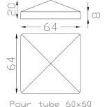 Chapeau couvre poteau carré 60 ref.19 264