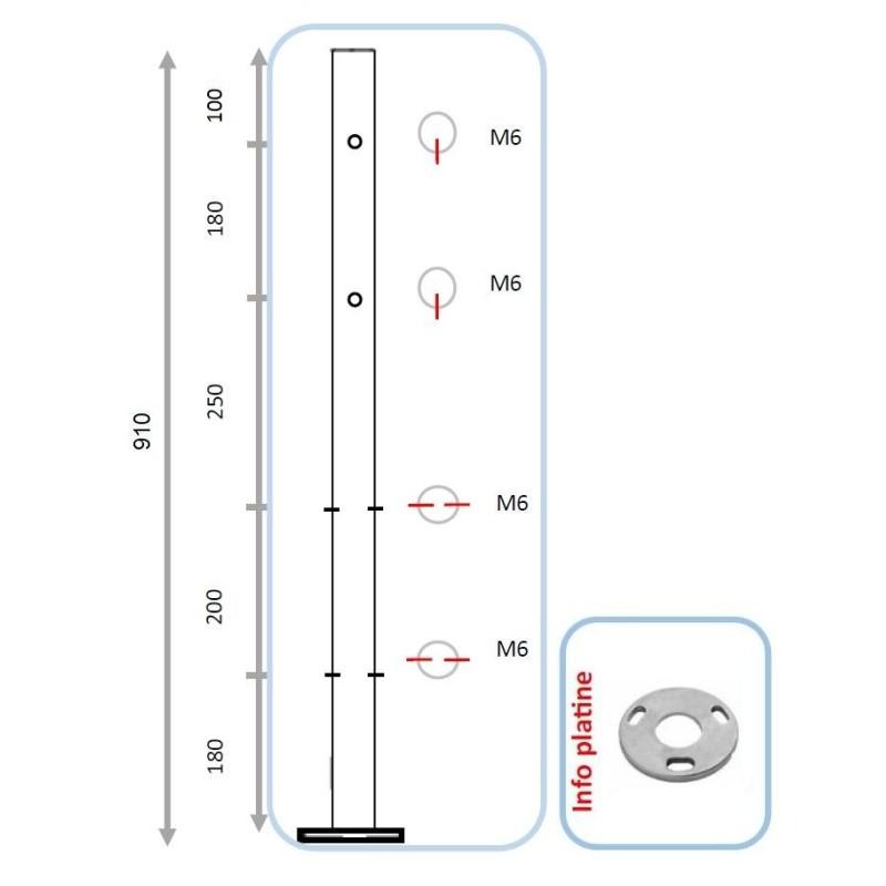 Barreau pour 2 lisses et pinces partie basse - intermédiaire