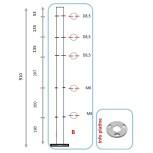 Barreau pour 3 câbles et pinces partie basse - intermédiaire
