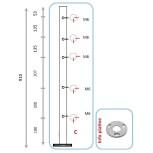Barreau pour 3 câbles et pinces partie basse - angle
