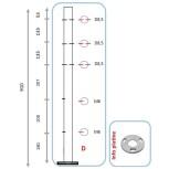 Barreau pour 3 câbles et pinces partie basse - arrivée