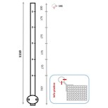 Barreau d'angle entrant pose façade 5+5 trous M6 à 90° (usage câble)
