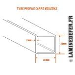 Schéma du tube profilé carré 20x20x2