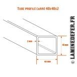 Schéma du tube profilé carré 40x40x2