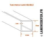 Schéma du tube profilé carré 40x40x3