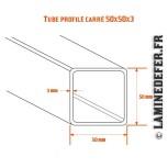 Schéma du tube profilé carré 50x50x3
