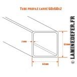 Schéma du tube profilé carré 60x60x2