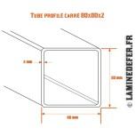 Schéma du tube profilé carré 80x80x2
