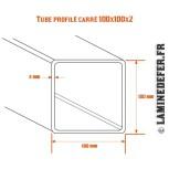 Tube profilé carré 100x100x2