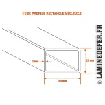 Schéma du tube profilé rectangle 80x20x2