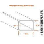 Schéma du tube profilé rectangle 40x20x2