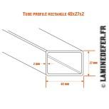 Schéma du tube profilé rectangle 40x27x2