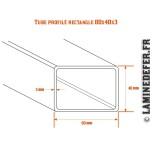 Schéma du tube profilé rectangle 80x40x3