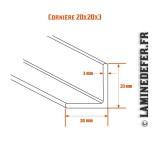 Schéma de cornière 20x20x3