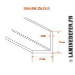 Schéma de cornière 25x25x3