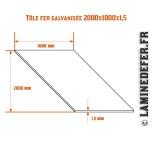 Schéma de la plaque / tôle fer galvanisée 2000x1000x1.5