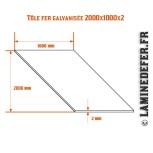 Schéma de la plaque / tôle fer galvanisée 2000x1000x2