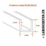 Schéma du U profilé à froid 35x35x35x2.5