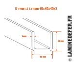 Schéma du U profilé à froid 40x40x40x3