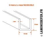 Schéma du U profilé à froid 50x50x50x3