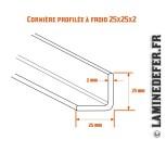 Schéma de la cornière profilée à froid 25x25x2