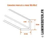 Schéma de la cornière profilée à froid 30x30x2