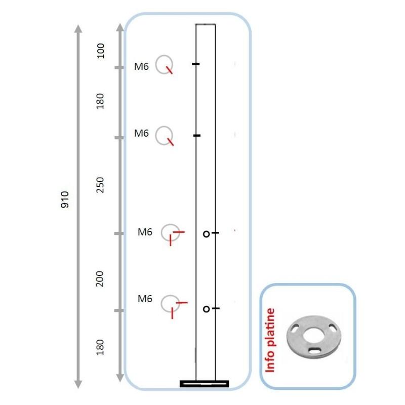 Barreau pour 2 lisses et pinces partie basse - angle entrant