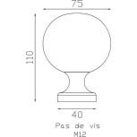 Schéma de la boule en laiton poli verni Ø 75 mm