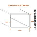 Schéma du tube profilé rectangle 150x50 par 3mm