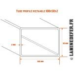 Schéma du tube profilé rectangle 100x50 par 2 mm