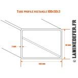 Schéma du tube profilé rectangle 100x50 par3