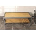 Table basse en fer et bois en tube profilé carré 50x50x3