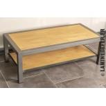 Table de salon acier et bois en tube profilé carré