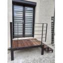 Structure métallique pour palier d'escalier en tube profilé rectangle 100x50x2 mm
