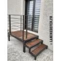Structure métallique pour escalier bois en tube profilé carré de 50x50x2 mm