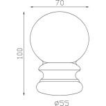 Boule d'ornement 100x70 base Ø55 - réf. 05 012