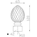 Pigne d'ornement 120x65 base 42x42 - réf. 05 100