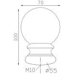 Boule d'ornement 100x70 base Ø55 - réf. 05 116