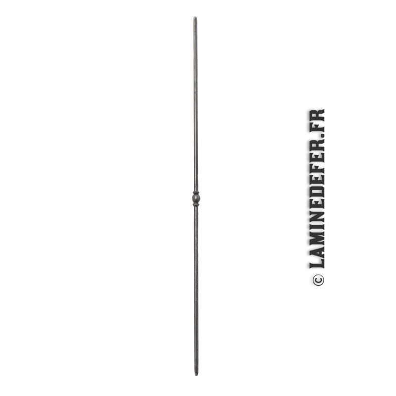 Barreau à simple motif boule en rondin martelé de 12 mm -  réf. 08061