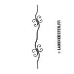 Barreau double motif volutes H 900 - carré 12 réf. 134/G/1