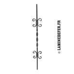 Barreau avec double motif volutes et torsade centrale H 900 - carré 12 réf. 50/8