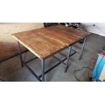 Table en tube profilé carré 40x40x3 avec plateau en bois