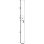 Schéma du poteau en acier rond Ø 25 réf. 06111
