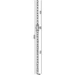 Schéma du poteau en carré de 25 martelé réf. 06111