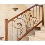 Rampe d'escalier en acier et bois avec volute 715/2
