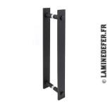 Poignée bâton en métal noir mat en biais pour porte coulissante ROC DESIGN